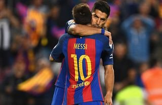 Lionel Messi and Luis Suarez in action for Barcelona vs Eibar in 2017