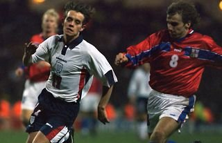Ex-Aston Villa star Hendrie during his only England cap.