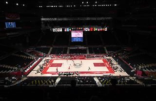A general view of Saitama Arena during the first half of a Men's Preliminary Round Group A game between Team United States of America and Team Iran on day five of the Tokyo 2020 Olympic Games at Saita