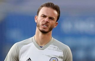 James Maddison warming up for Leicester amid speculation over a move to Arsenal