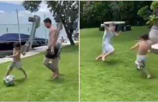 Lionel Messi plays football with Mateo and Thiago