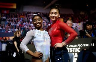 Sunisa Lee celebrated wildly as Simone Biles earned a beam bronze medal at the Tokyo 2020 Olympic Games