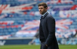 Rangers manager Steven Gerrard on the touchline at Ibrox