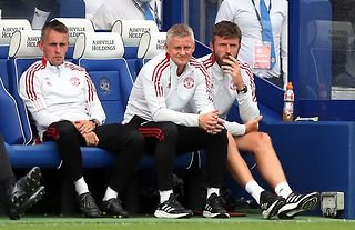 Manchester United manager Ole Gunnar Solskjaer watches his team