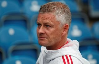 Man United manager Ole Gunnar Solskjaer looking serious
