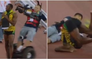 Usain Bolt was wiped out by a cameraman in 2015