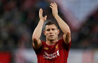 Liverpool's James Milner clapping supporters