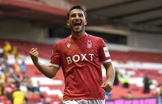Joao Carvalho celebrates after scoring for Nottingham Forest in their clash with Bradford