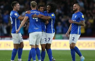 Birmingham City's players celebrate after opening the scoring against Sheffield United