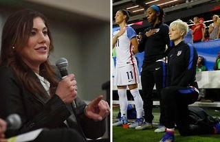 """Hope Solo has said former teammate Megan Rapinoe would """"almost bully"""" players to take the knee"""