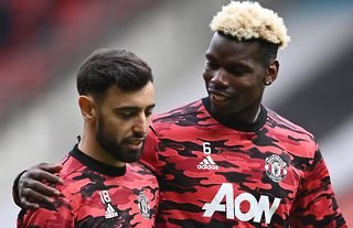Bruno Fernandes and Paul Pogba in action for Man United