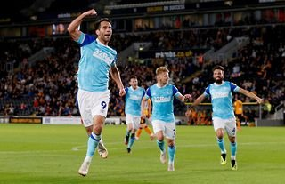 Sam Baldock celebrates after scoring the winner in Derby County's clash with Hull