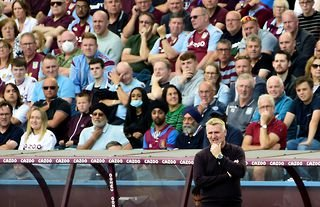 Aston Villa manager Dean Smith in front of the club's fans