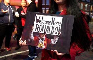 A Manchester United fan welcomes back Cristiano Ronaldo when Juventus visit in the Champions League