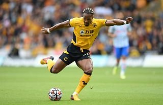 Adama Traore in action for Wolves against Manchester United