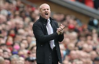 Burnley manager Sean Dyche looking animated
