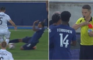 Jules Kounde was shown a red card for a brutal challenge on Sead Kolasinac