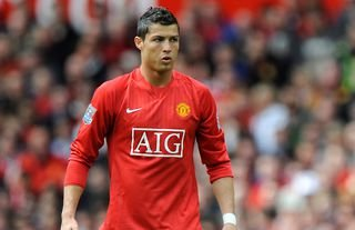 Cristiano Ronaldo about to take a free kick for Manchester United