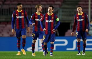 Barcelona players look dejected after Juventus score in the Champions League at the Camp Nou