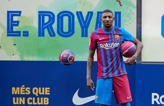 Emerson Royal is presented at the Camp Nou after signing for Barcelona from Real Betis