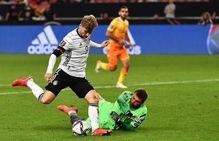 Chelsea star Timo Werner plays for Germany against Armenia in a 2022 World Cup Qualifier