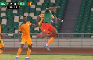 Eric Bailly gave away a penalty for a karate kick in Ivory Coast vs Cameroon