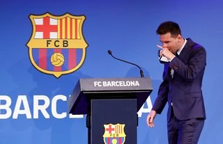 Lionel Messi announces he will leave Barcelona at a press conference