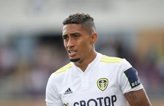 Leeds United winger Raphinha in action