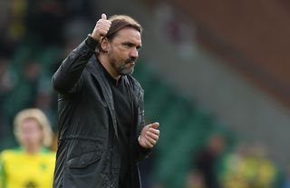 Norwich City manager Daniel Farke giving a thumbs-up to the crowd