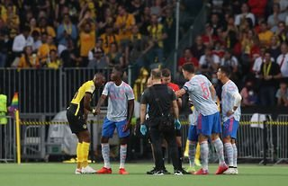 Aaron Wan-Bissaka of Manchester United is sent off against Young Boys in the Champions League
