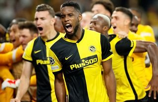 Young Boys celebrate their Champions League win vs Man Utd.
