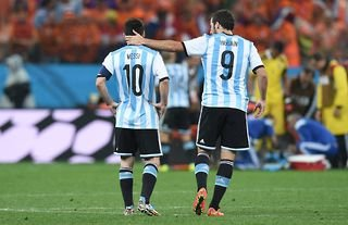 Gonzalo Higuain and Lionel Messi playing for Argentina