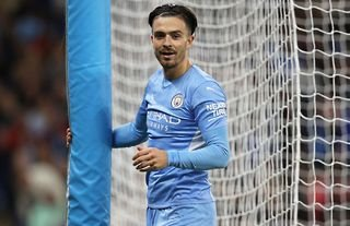 Jack Grealish in action for Manchester City vs RB Leipzig