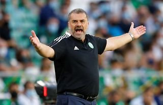 Celtic manager Ange Postecoglou looking frustrated