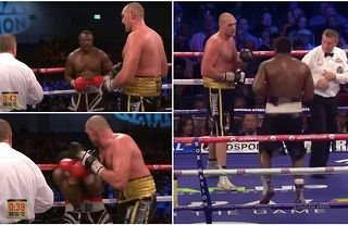 Tyson Fury was spotted 'pleading with the ref' to stop Derek Chisora fight after onslaught