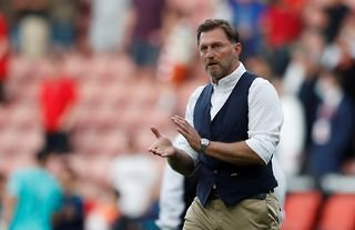 Southampton manager Ralph Hasenhuttl claps the club's supporters