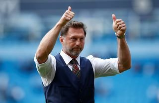 Southampton manager Ralph Hasenhuttl giving the thumbs-up to the fans