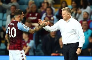 Aston Villa manager Dean Smith embraces Danny Ings