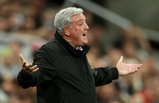 Newcastle manager Steve Bruce looking unimpressed
