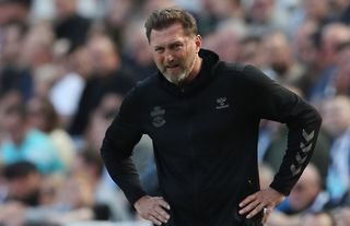 Southampton boss Ralph Hasenhuttl looks frustrated on the touchline