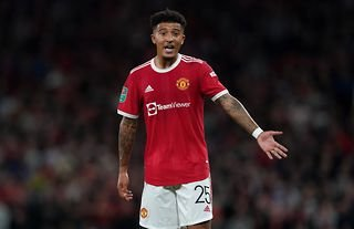 Jadon Sancho playing for Manchester United against West Ham at Old Trafford in the Carabao Cup