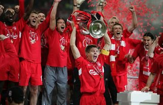 Liverpool captain Steven Gerrard lifts the Champions League trophy after beating AC Milan in Istanbul