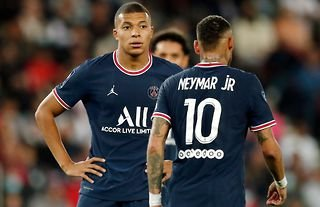 Kylian Mbappe and Neymar in action for PSG