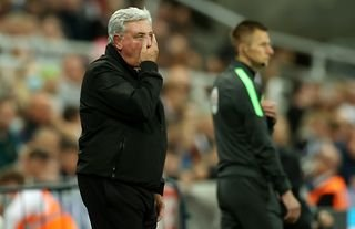 Newcastle manager Steve Bruce looking dismayed