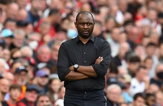 Crystal Palace manager Patrick Vieira looking focused