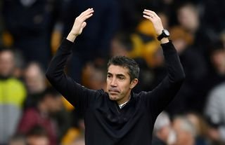 Wolves boss Bruno Lage acknowledging the club's fans