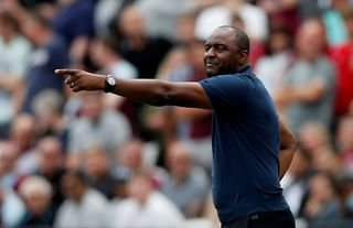 Crystal Palace manager Patrick Vieira giving instructions to his players