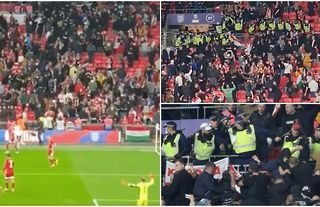 Ugly scenes broke out in the stands at Wembley...