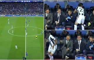 Dani Alves joking with Barcelona's bench at kick-off while playing for Juventus is still gold